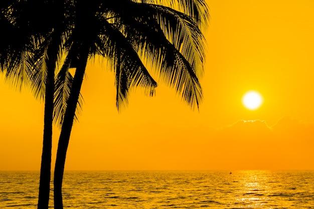 De mooie palm van de silhouetkokosnoot op hemel neary overzees oceaanstrand in zonsondergang of zonsopgangtijd Gratis Foto