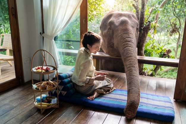 De mooie vrouw van azië zit op houten balkon en voedt olifant. Premium Foto