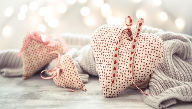 De muur van de vakantie, valentijnsdag. handgemaakte harten. Gratis Foto