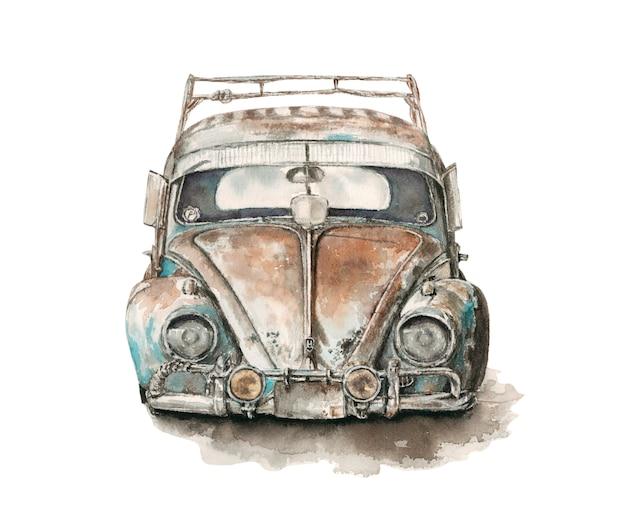 De oude roestige gebroken niet-werkende illustratie van de autowaterverf Premium Foto