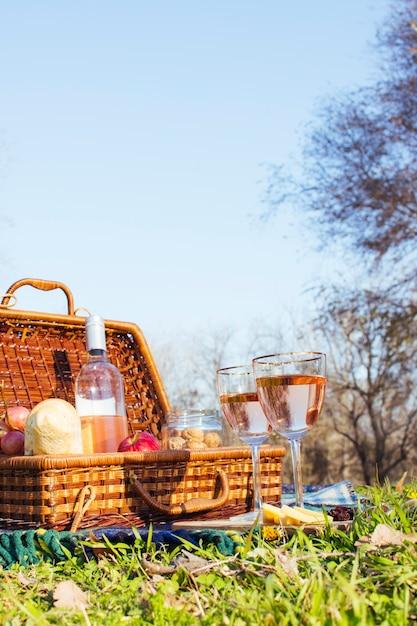 De picknickmand van het vooraanzicht op gras Gratis Foto