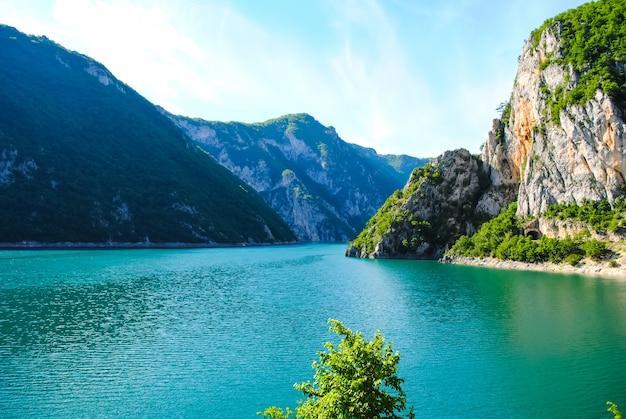 De pittoreske rivier de tara mondt uit in de hoofdstroom van de kloven Premium Foto