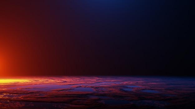 De planeetoppervlak, ruimtevaart, universum concept, 3d render Premium Foto