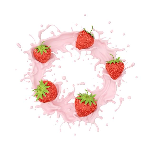 De plonsroom van de aardbei en van de melk of fruityoghurt, omvat het knippen weg, het 3d teruggeven. Premium Foto