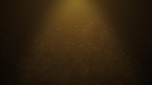 De populaire abstracte achtergrond die gouden deeltjes van stofdeeltjes glanst vonkt golf 3d animatie Premium Foto