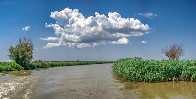 De rivier van donau dichtbij het dorp van vilkovo, de oekraïne Premium Foto