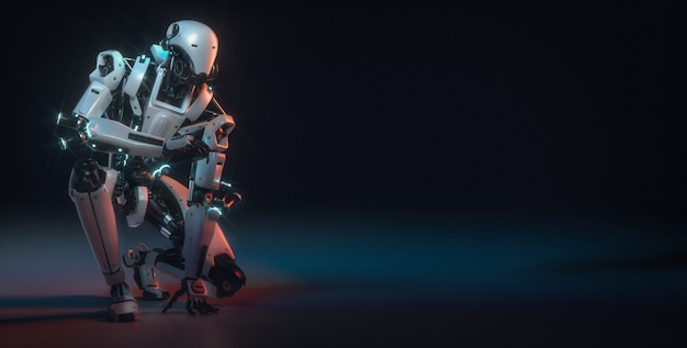 De robot is in de studioruimte met copyspace Premium Foto