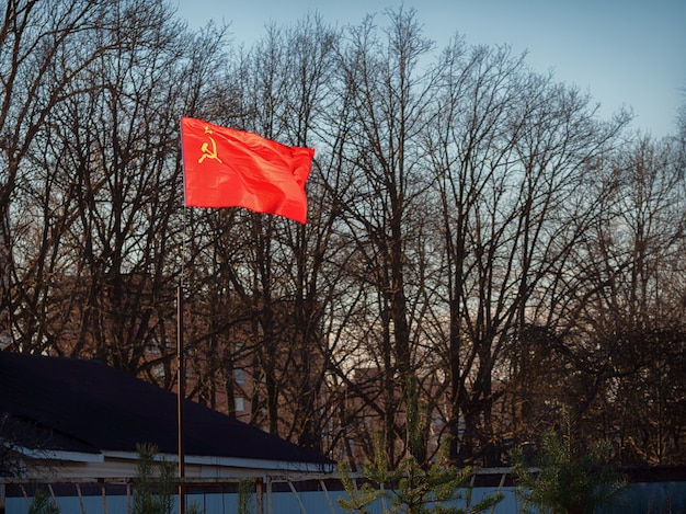 De rode sovjetvlag gloeit helder in de zon op de buitenwijk achter het hek Premium Foto
