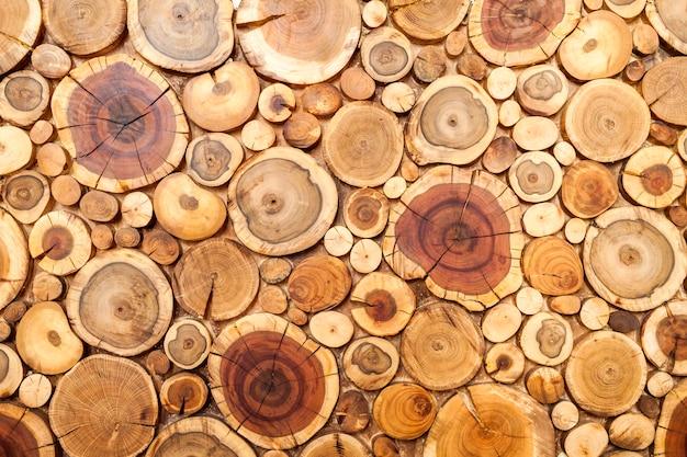 De ronde houten stompenachtergrond, bomen sneed sectie voor achtergrondtextuur. Premium Foto