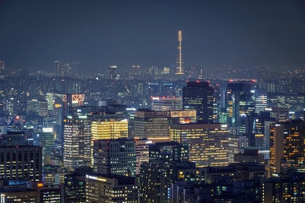De skyline van seoul in de nacht, zuid-korea. Premium Foto