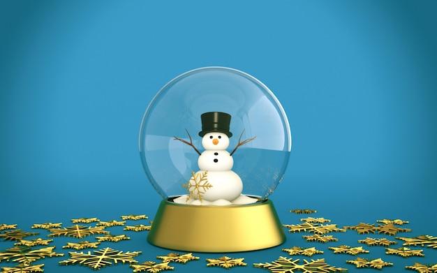 De sneeuwbol van kerstmis met sneeuwman en gouden sneeuwvlokken met blauwe achtergrond Premium Foto