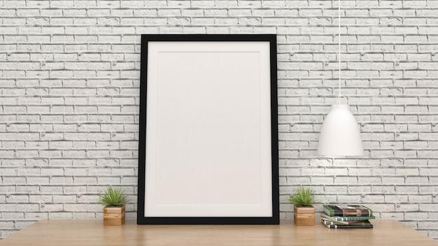 De spot op affichekader met binnenlandse 3d achtergrond, geeft terug Premium Foto