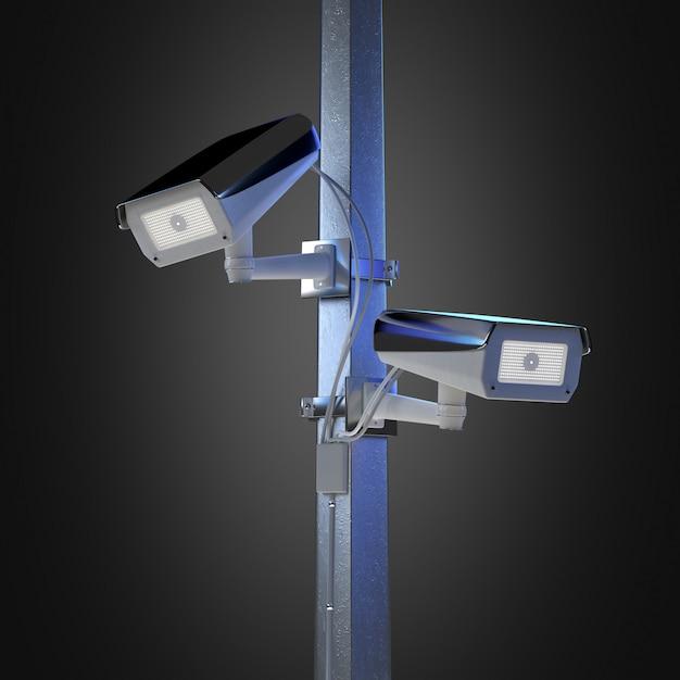 De veiligheidscctv camera van de straat die bij het 3d teruggeven wordt geïsoleerd Premium Foto