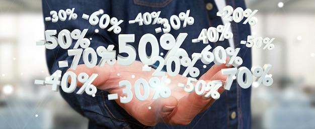 De verkooppictogrammen van de zakenmanholding in zijn hand het 3d teruggeven Premium Foto