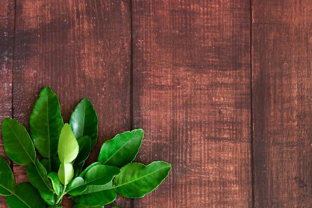 De verse groene bladeren van de kaffirkalk op houten bureauachtergrond, ingradient voor het voedsel van azië met exemplaarruimte Premium Foto