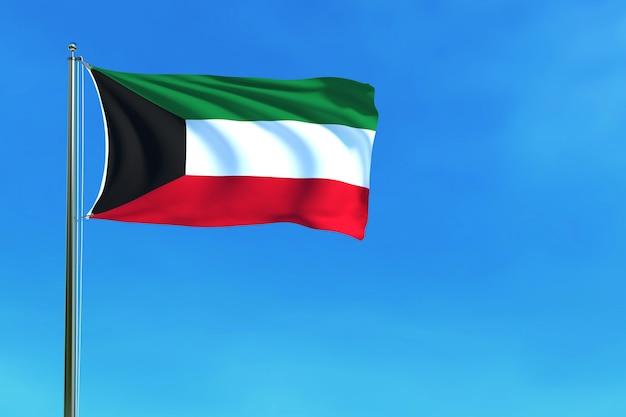 De vlag van koeweit op het blauwe hemel 3d teruggeven als achtergrond Premium Foto