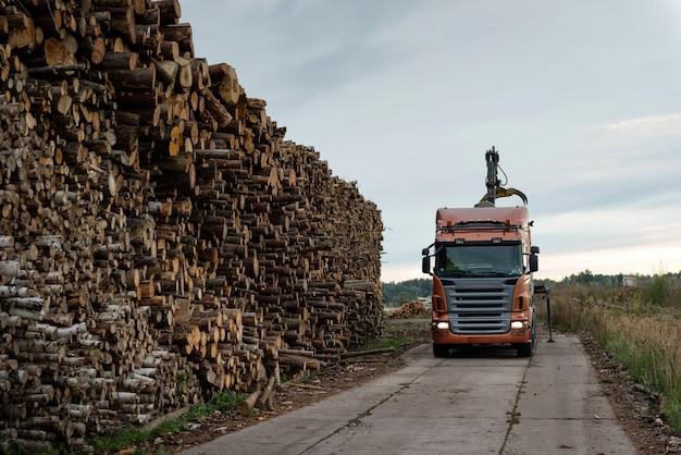 De vrachtwagen maakt hout bij het gebied van het havenpakhuis leeg. Premium Foto