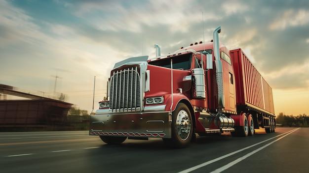 De vrachtwagen rijdt met hoge snelheid over de snelweg Premium Foto