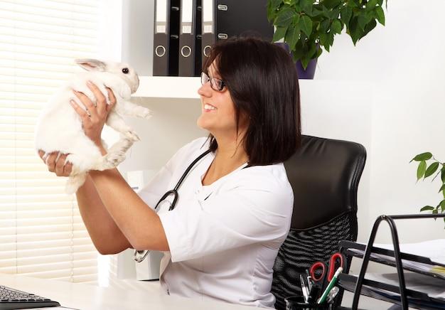 De vrouwendierenarts controleert gezondheid van wit konijn Gratis Foto
