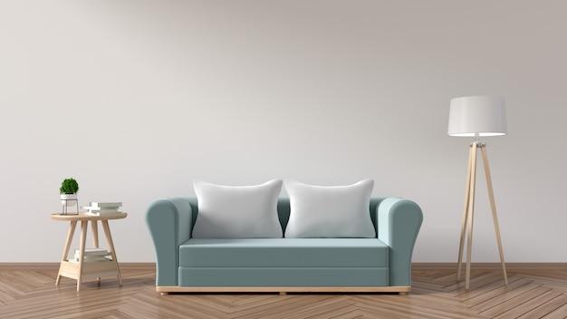 De woonkamer heeft een sofa blauw, kussens, lampen, boeken en een vaas met bloemen Premium Foto