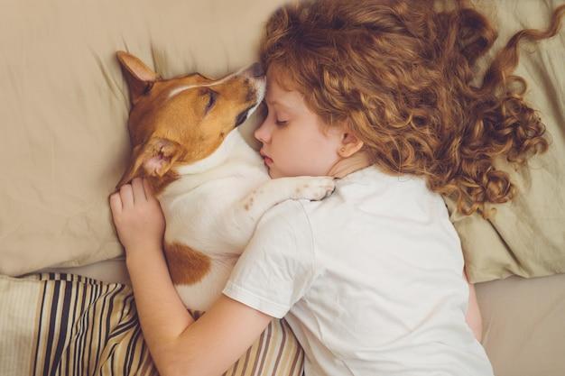 De zoete krullende meisje en hefboom russell hond slaapt in nacht. Premium Foto
