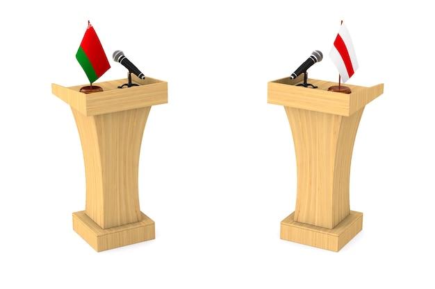 Debat in de wit-russische republiek op een witte achtergrond. geïsoleerde 3d-afbeelding Premium Foto
