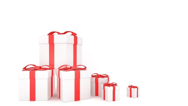 Decoratieve geschenkdozen met rode strikken en linten, 3d-rendering. Premium Foto