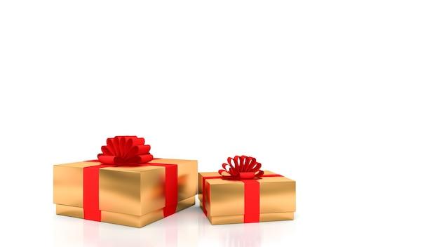 Decoratieve gouden geschenkdozen met rode linten met witte achtergrond. Premium Foto