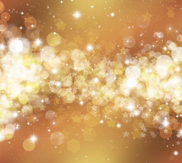 Decoratieve kerst achtergrond van sterren en bokhe lichten Gratis Foto