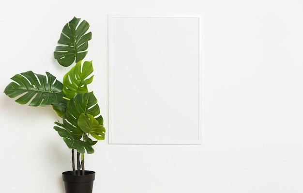 Decoratieve plant met leeg frame Premium Foto