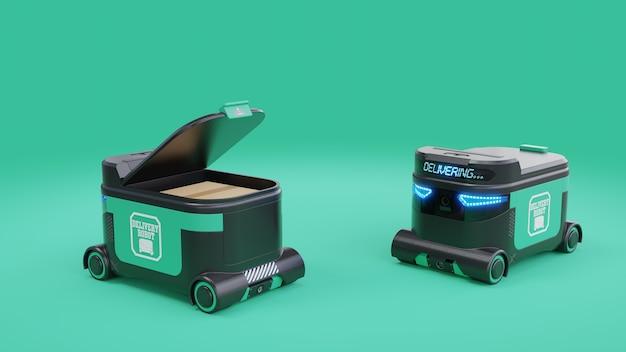 Delivery robot voedselbezorgrobots kunnen in de nabije toekomst huizen bedienen. agv intelligente robot Gratis Foto