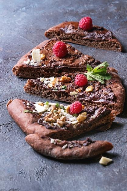 Dessertchocolade pizza Premium Foto