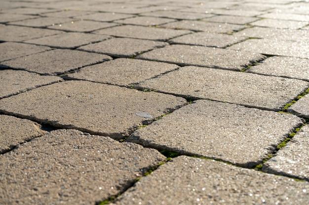 Detail van een geplaveide weg Premium Foto