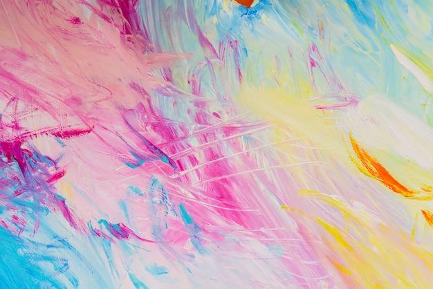 Detail van penseelstreken van willekeurige kleuren om te gebruiken als achtergrond en textuur in ambachten op school. Premium Foto