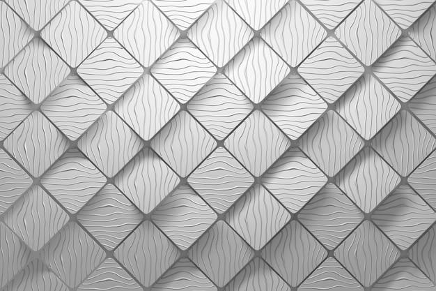 Diagonale kubussen met veelhoek geometrische vierkante vormen en golvende groeven in witte kleur met afgeronde randen. achtergrond Premium Foto