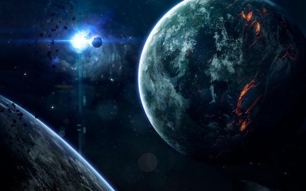 Diepe ruimteschoonheid, planeten, sterren en sterrenstelsels in een eindeloos universum. Premium Foto