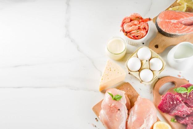 Dierlijke eiwitbronnen, vlees, eieren, zeevruchten, zuivelproducten Premium Foto