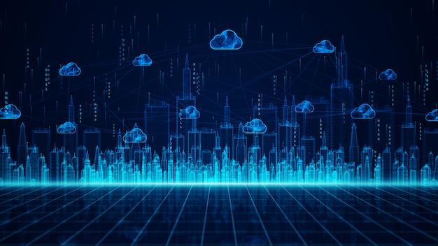 Digital city en cloud computing met behulp van kunstmatige intelligentie, 5g high-speed verbindingsgegevensanalyse. digitale datanetwerkverbindingen en wereldwijde communicatieachtergrond. Premium Foto