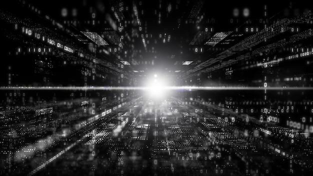 Digitale cyberspace met deeltjes en digitaal datanetwerkverbindingenconcept. zwart en witte kleur Premium Foto