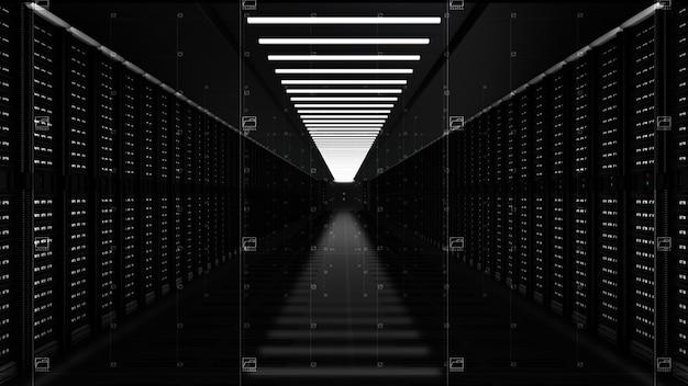 Digitale datanetwerkservers in een serverruimte Premium Foto