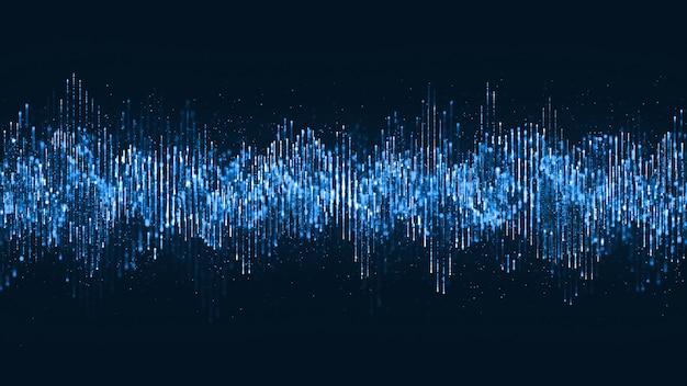 Digitale golfdeeltjes muziek en kleine deeltjes dansen beweging op golf voor digitale achtergrond. Premium Foto
