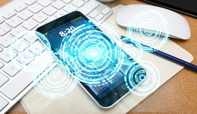 Digitale interface en mobiele telefoon Premium Foto