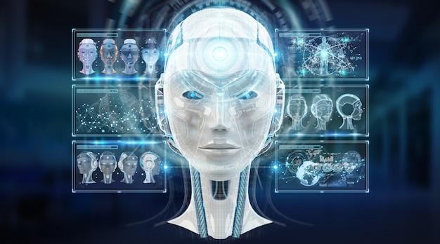 Digitale kunstmatige intelligentie cyborg interface 3d-rendering Premium Foto