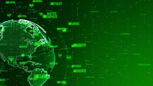 Digitale netwerkgegevens en communicatie netwerkconcepten abstracte achtergrond. wereld oorspronkelijke bron van nasa Premium Foto