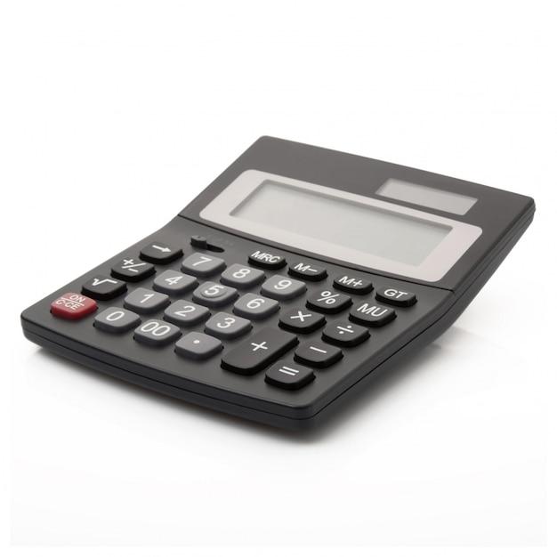 Digitale rekenmachine op wit Premium Foto
