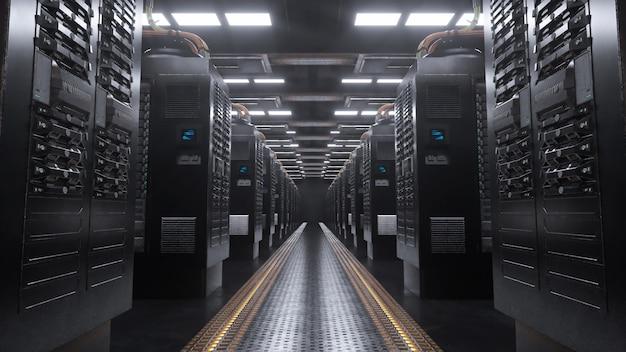 Digitale server in een grungeruimte Premium Foto