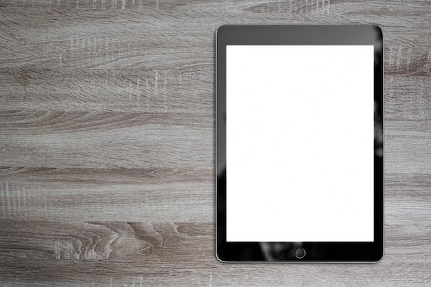 Digitale tablet houten lijst met exemplaarruimte voor achtergrondontwerp Premium Foto