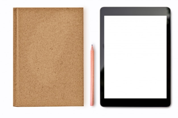 Digitale tabletspot omhoog op witte achtergrond Premium Foto