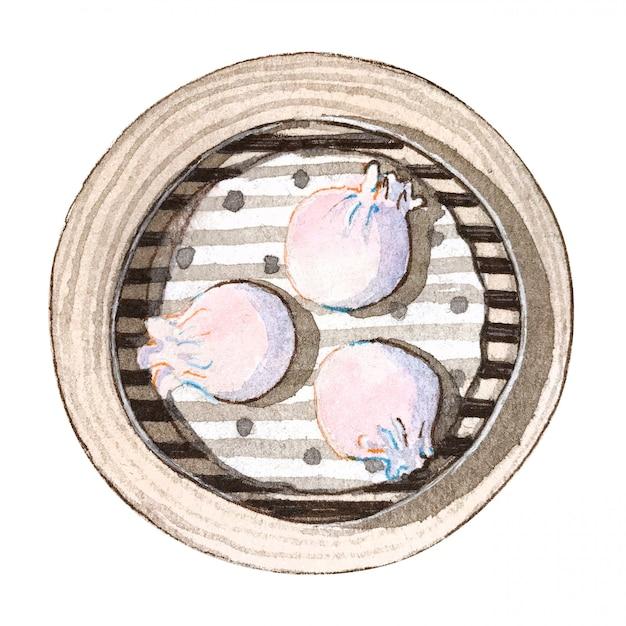 Dim sum sum van het waterverf het aziatische voedsel, hoogste mening Premium Foto