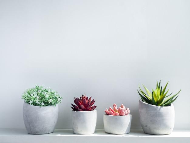 Diverse betonnen potten. moderne geometrische cementplanter met witte bloemen en groene, rode en roze vetplant op wit hout Premium Foto